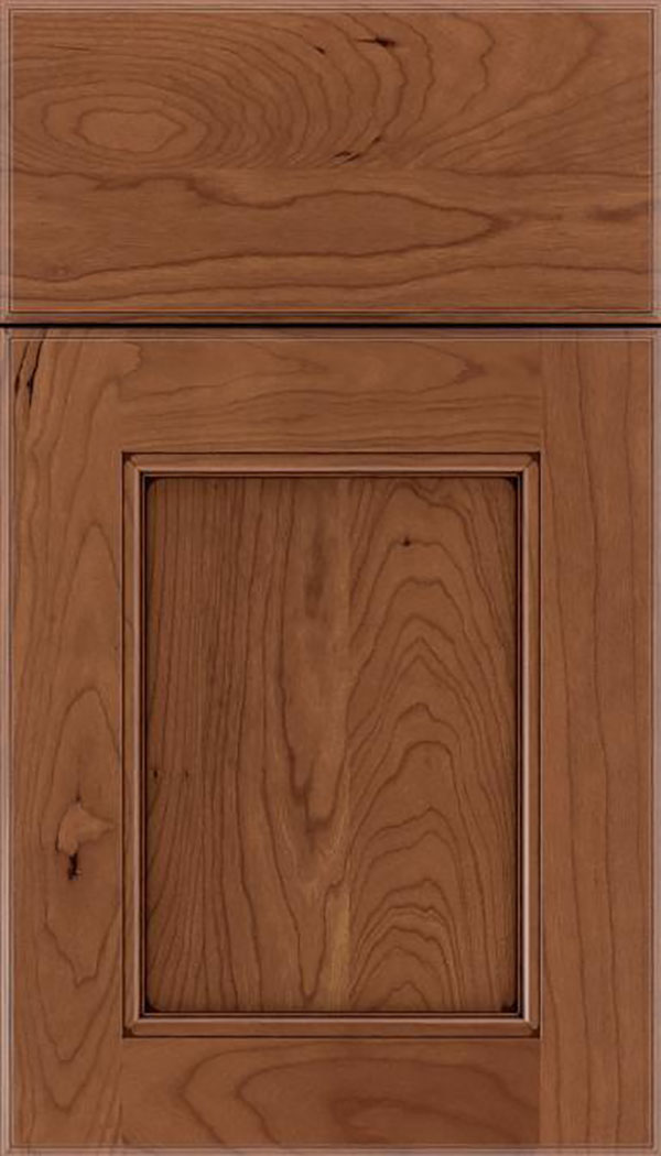 Tamarind Cherry shaker cabinet door in Nutmeg with Mocha glaze