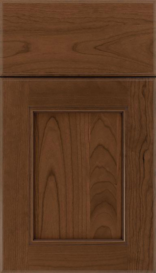 Tamarind Cherry shaker cabinet door in Sienna with Mocha glaze