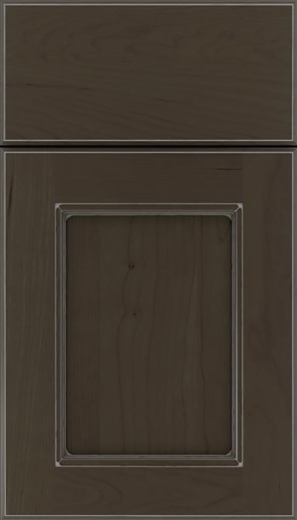 Tamarind Cherry shaker cabinet door in Thunder with Pewter glaze