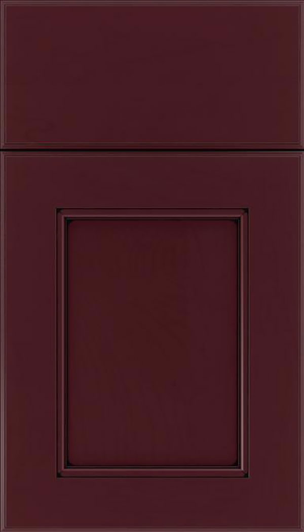 Tamarind Maple shaker cabinet door in Bordeaux with Black glaze