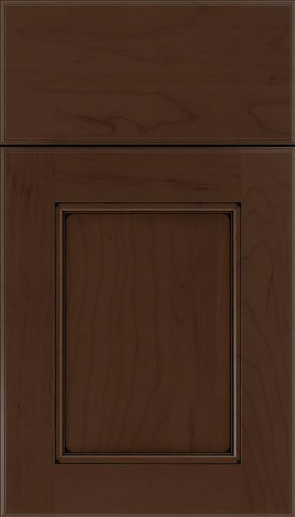 Tamarind Maple shaker cabinet door in Cappuccino with Black glaze