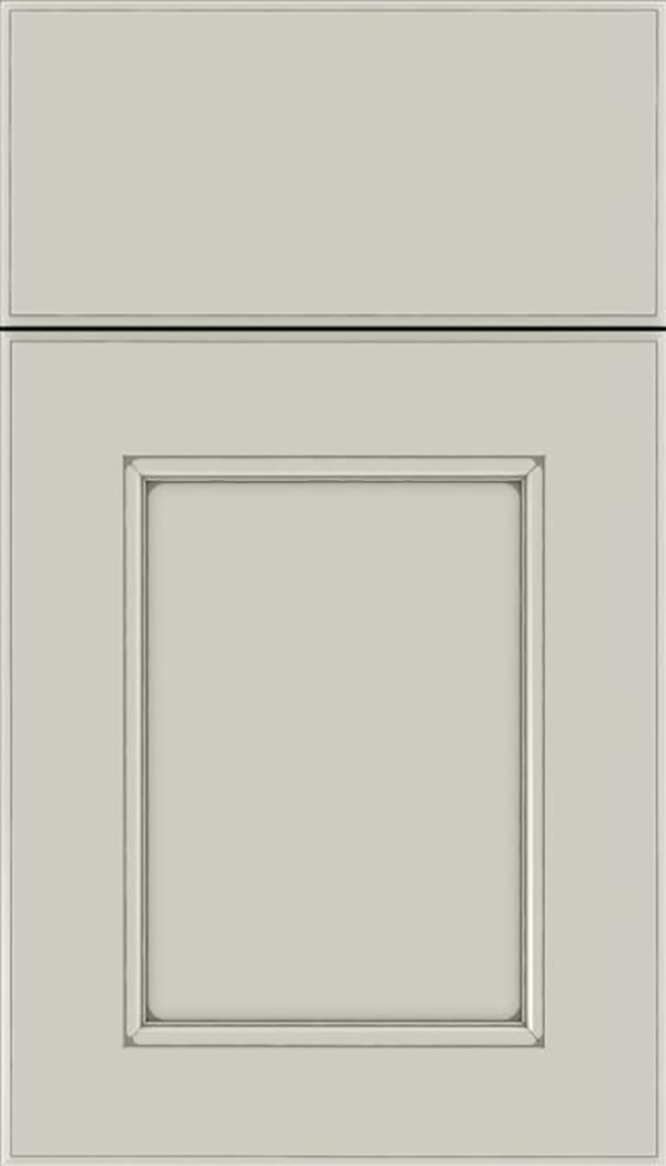 Tamarind Maple shaker cabinet door in Cirrus with Pewter glaze