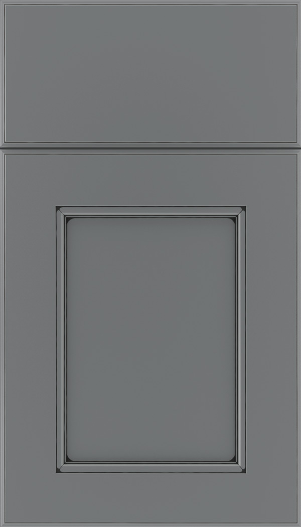 Tamarind Maple shaker cabinet door in Cloudburst with Black glaze