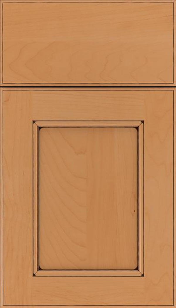 Tamarind Maple shaker cabinet door in Ginger with Black glaze