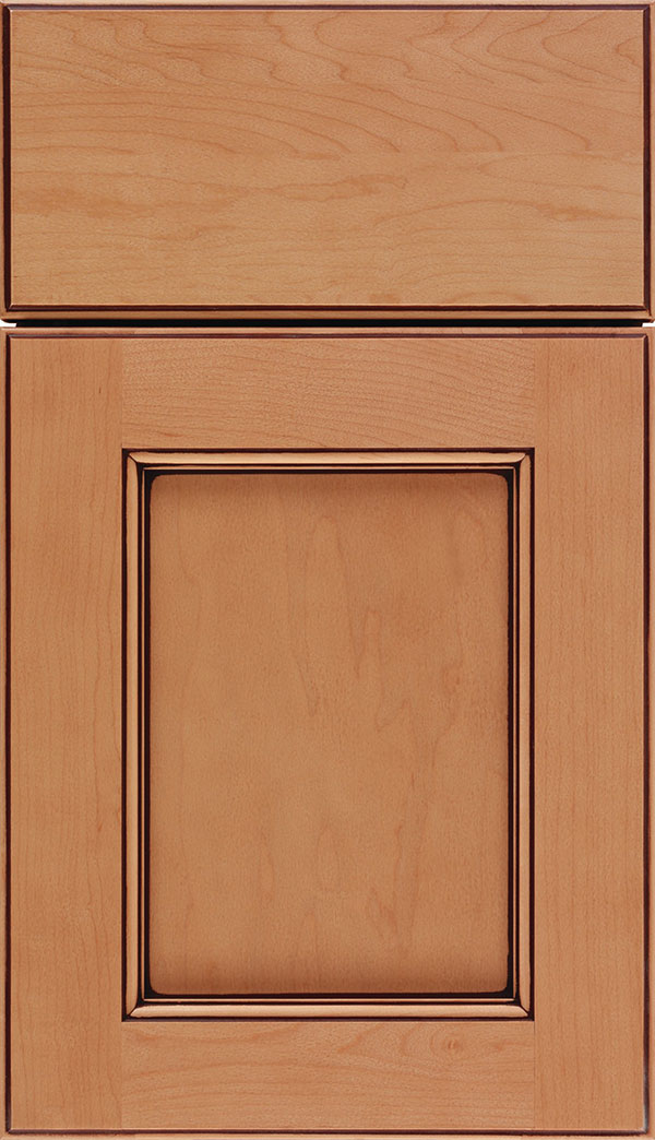 Tamarind Maple shaker cabinet door in Ginger with Mocha glaze