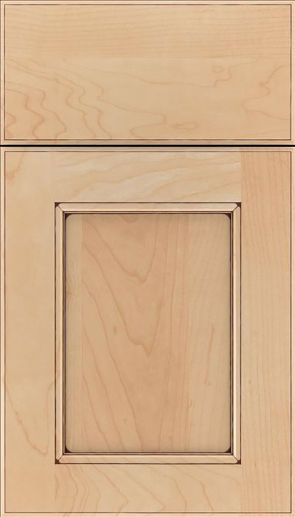 Tamarind Maple shaker cabinet door in Natural with Mocha glaze