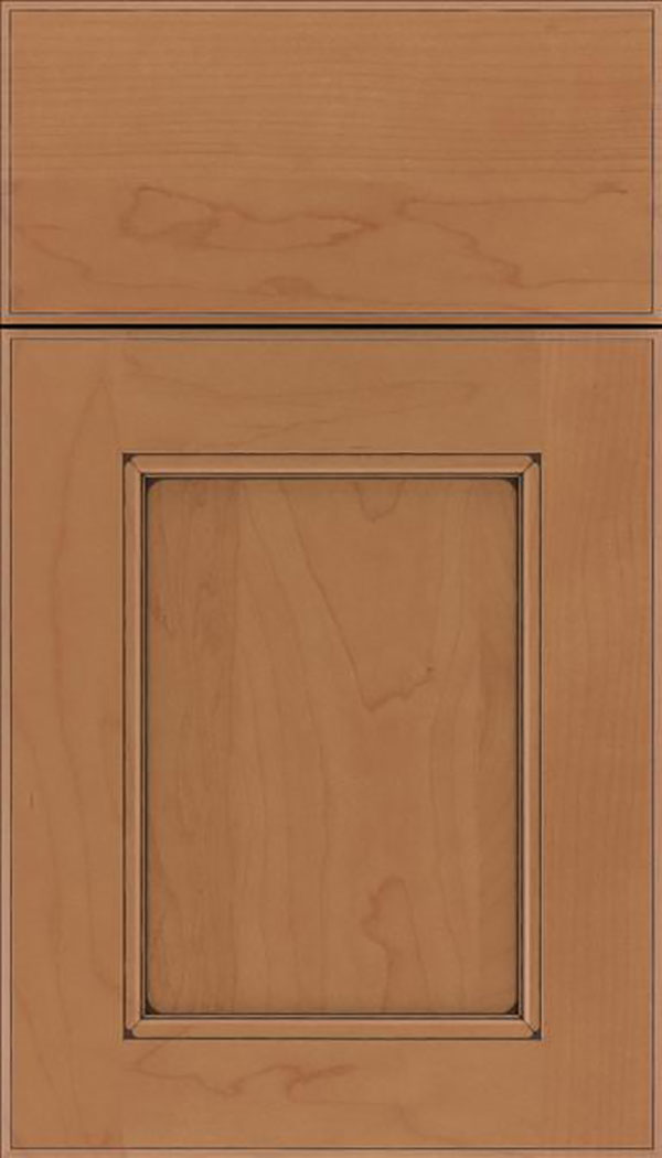 Tamarind Maple shaker cabinet door in Nutmeg with Mocha glaze