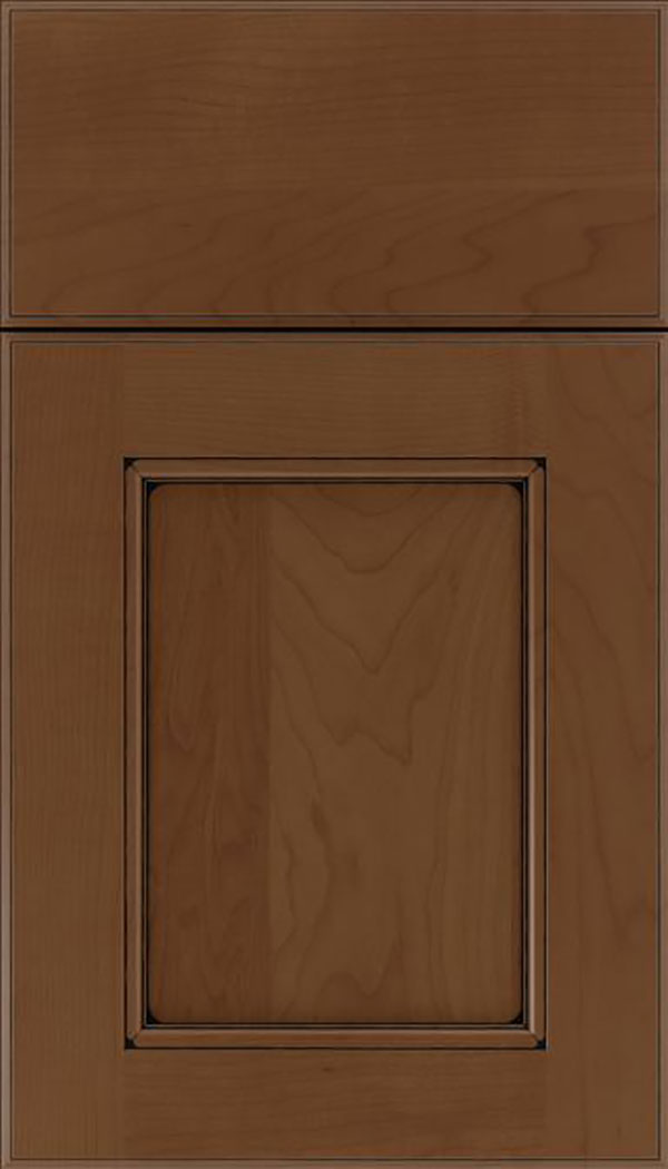 Tamarind Maple shaker cabinet door in Sienna with Black glaze