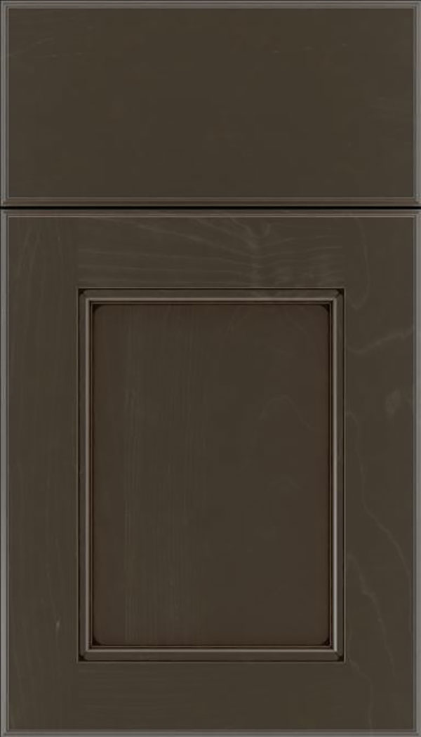 Tamarind Maple shaker cabinet door in Thunder with Black glaze