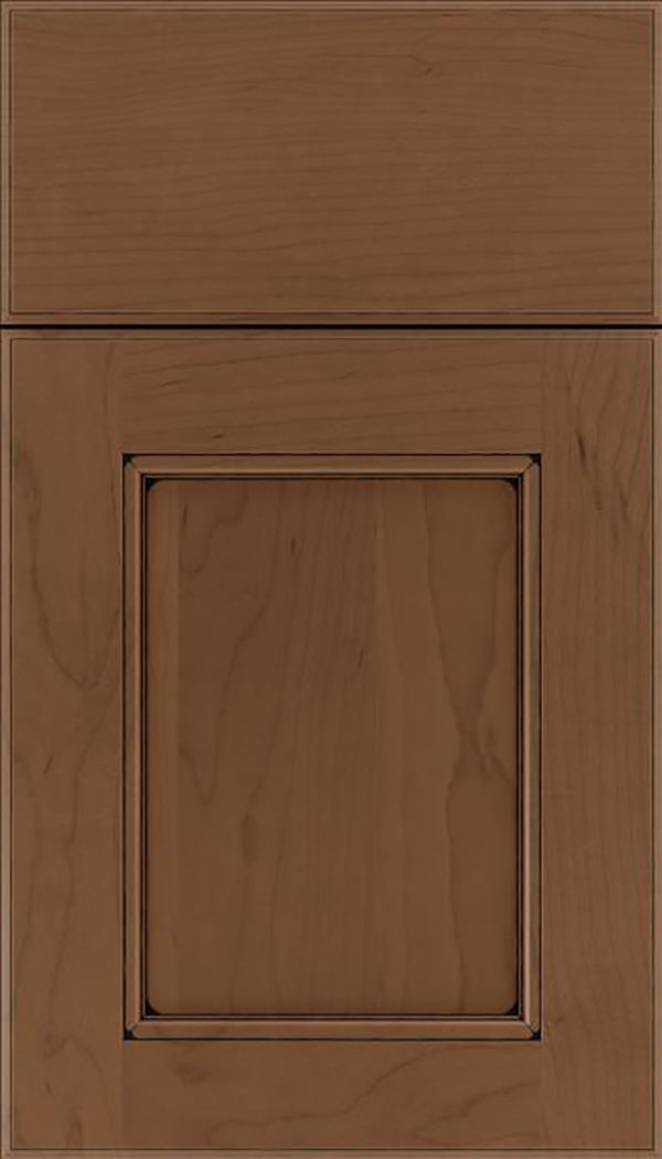 Tamarind Maple shaker cabinet door in Toffee with Black glaze