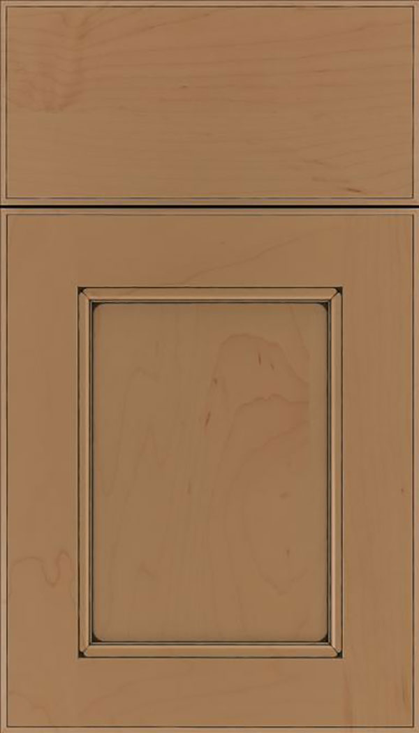 Tamarind Maple shaker cabinet door in Tuscan with Black glaze
