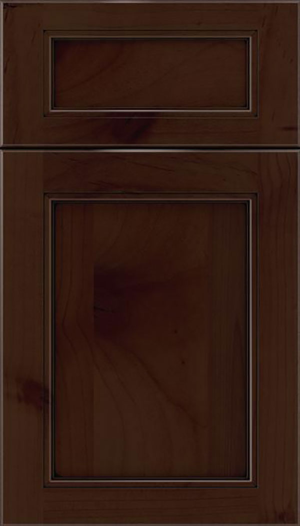 Templeton 5pc Alder recessed panel cabinet door in Cappuccino with Black glaze