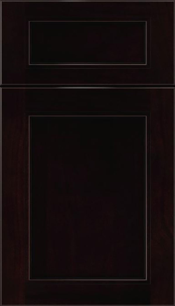 Templeton 5pc Alder recessed panel cabinet door in Espresso with Black glaze
