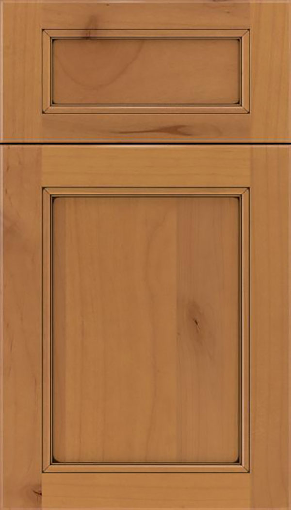 Templeton 5pc Alder recessed panel cabinet door in Ginger with Black glaze