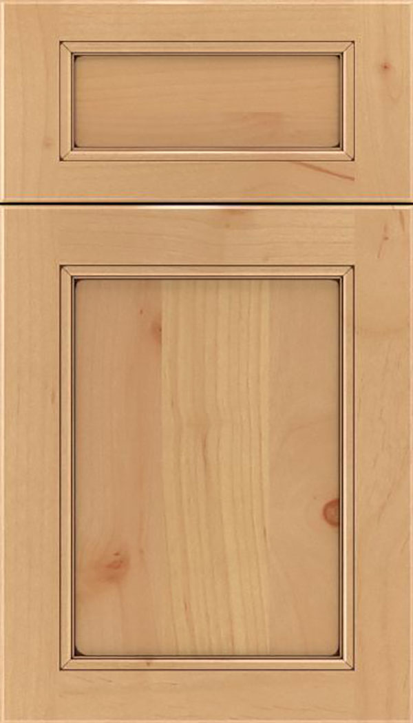 Templeton 5pc Alder recessed panel cabinet door in Natural with Mocha glaze