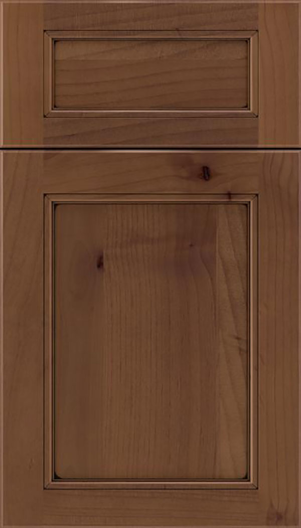 Templeton 5pc Alder recessed panel cabinet door in Sienna with Black glaze