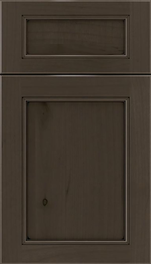 Templeton 5pc Alder recessed panel cabinet door in Thunder with Black glaze
