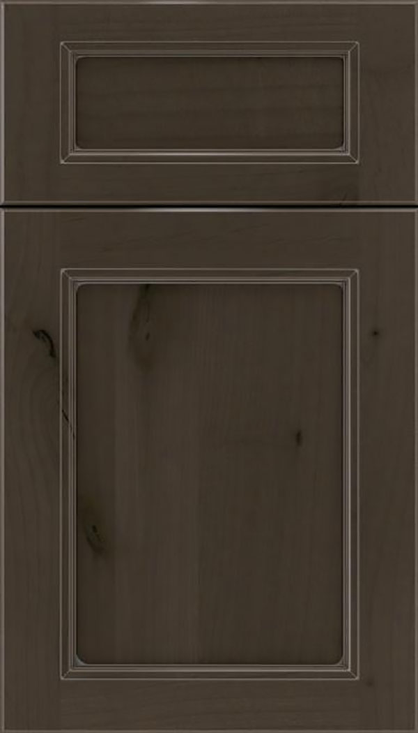 Templeton 5pc Alder recessed panel cabinet door in Thunder with Pewter glaze