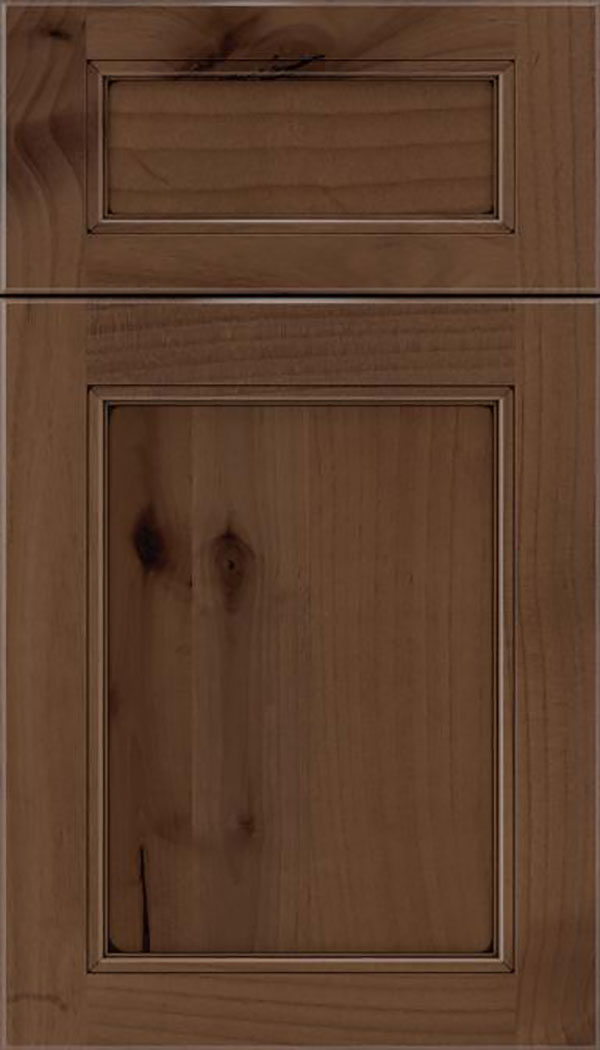 Templeton 5pc Alder recessed panel cabinet door in Toffee with Black glaze