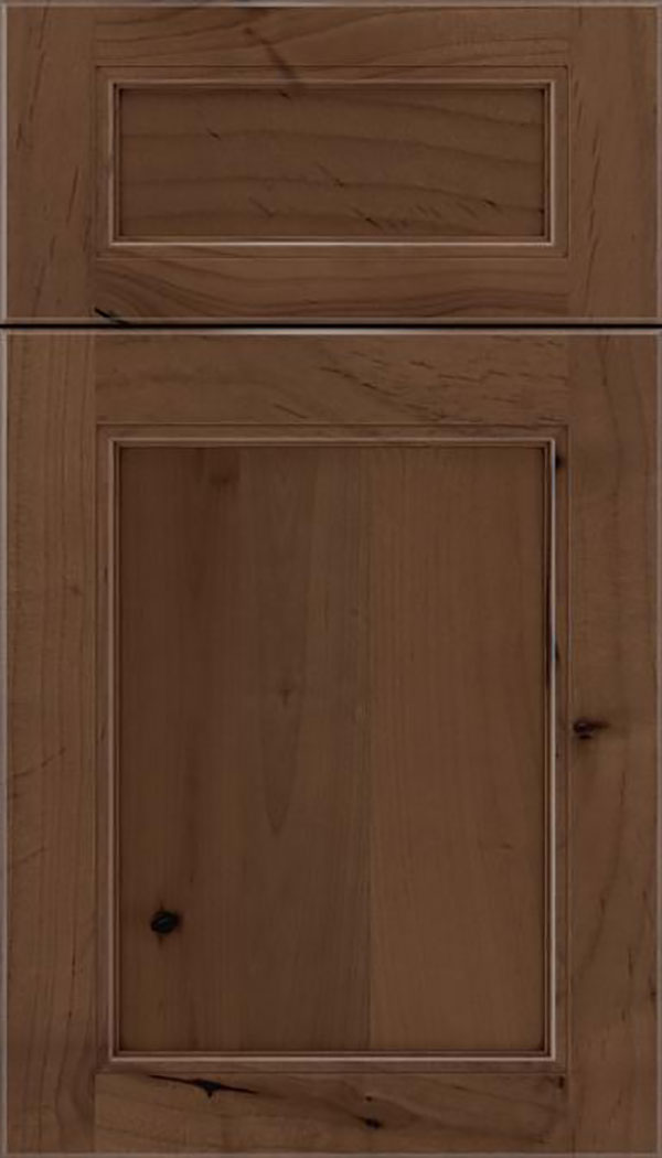 Templeton 5pc Alder recessed panel cabinet door in Toffee with Mocha glaze