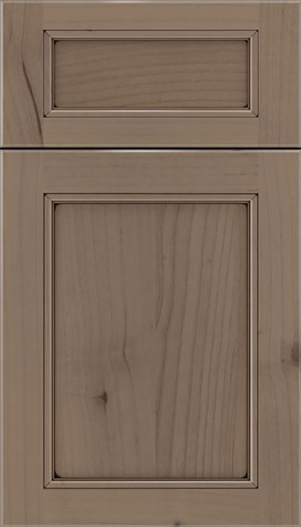 Templeton 5pc Alder recessed panel cabinet door in Winter with Black glaze