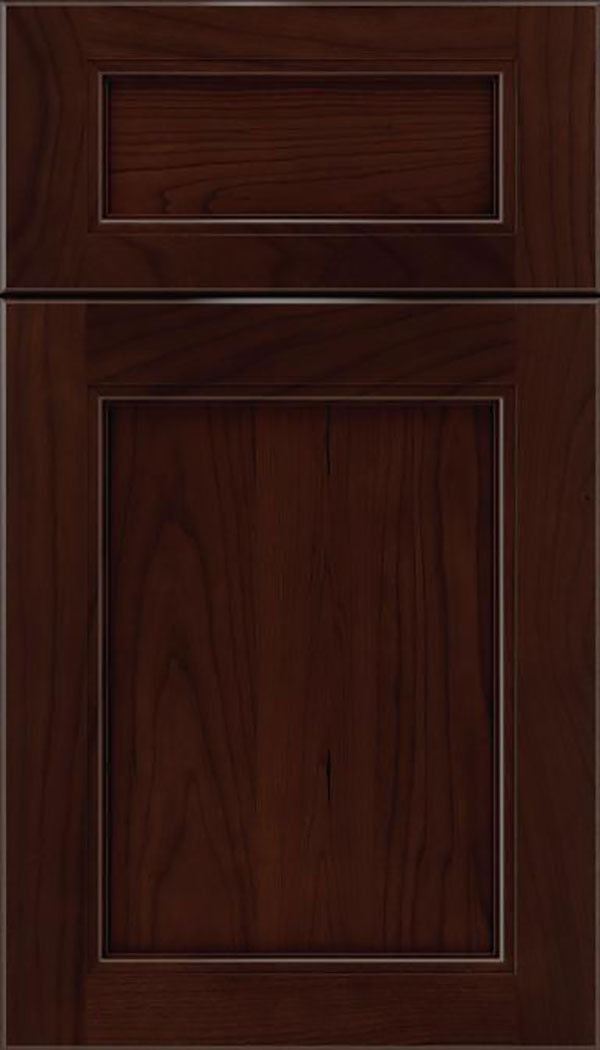 Templeton 5pc Cherry recessed panel cabinet door in Cappuccino