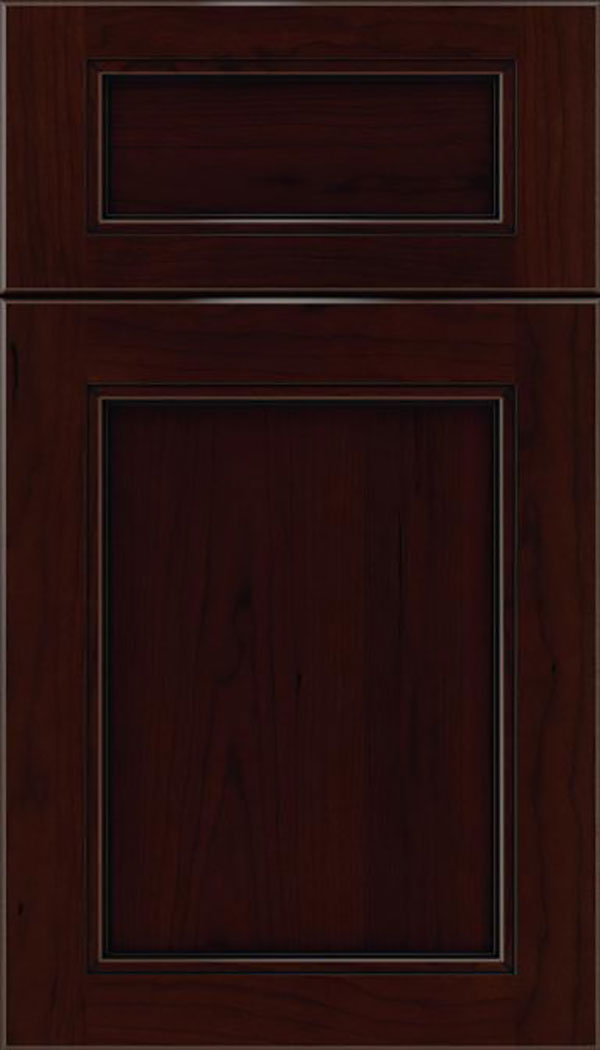 Templeton 5pc Cherry recessed panel cabinet door in Cappuccino with Black glaze