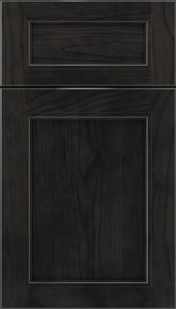 Templeton 5pc Cherry recessed panel cabinet door in Charcoal