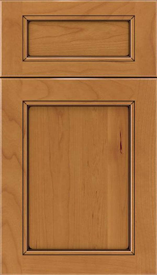 Templeton 5pc Cherry recessed panel cabinet door in Ginger with Black glaze