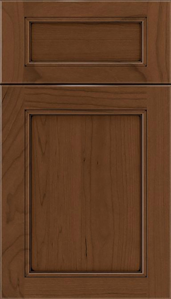 Templeton 5pc Cherry recessed panel cabinet door in Sienna with Black glaze