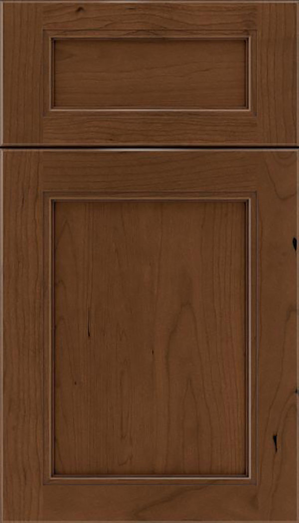 Templeton 5pc Cherry recessed panel cabinet door in Sienna with Mocha glaze