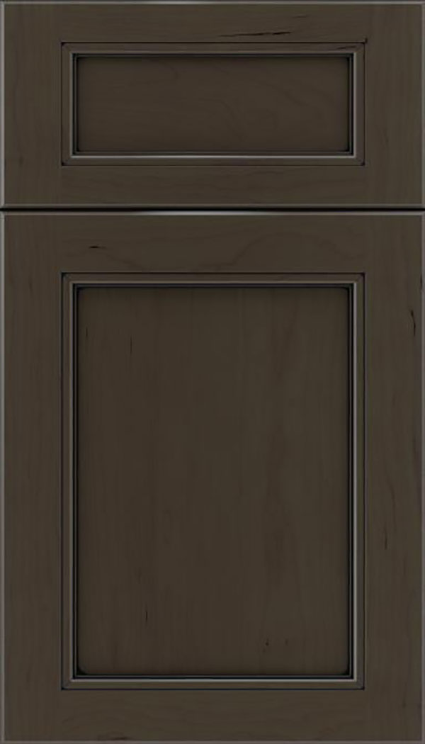 Templeton 5pc Cherry recessed panel cabinet door in Thunder with Black glaze