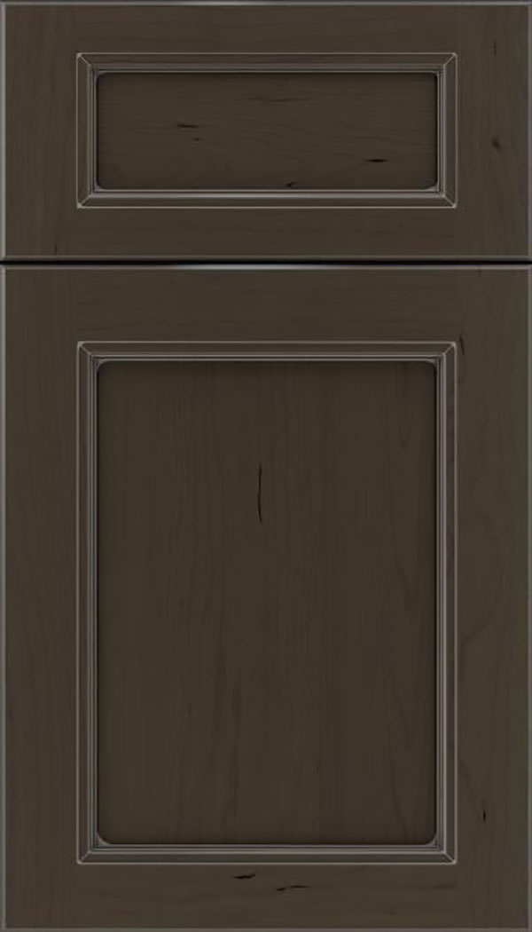 Templeton 5pc Cherry recessed panel cabinet door in Thunder with Pewter glaze