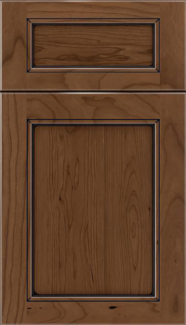 Templeton 5pc Cherry recessed panel cabinet door in Toffee with Black glaze