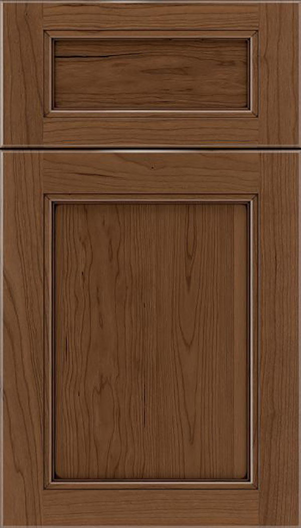 Templeton 5pc Cherry recessed panel cabinet door in Toffee with Mocha glaze