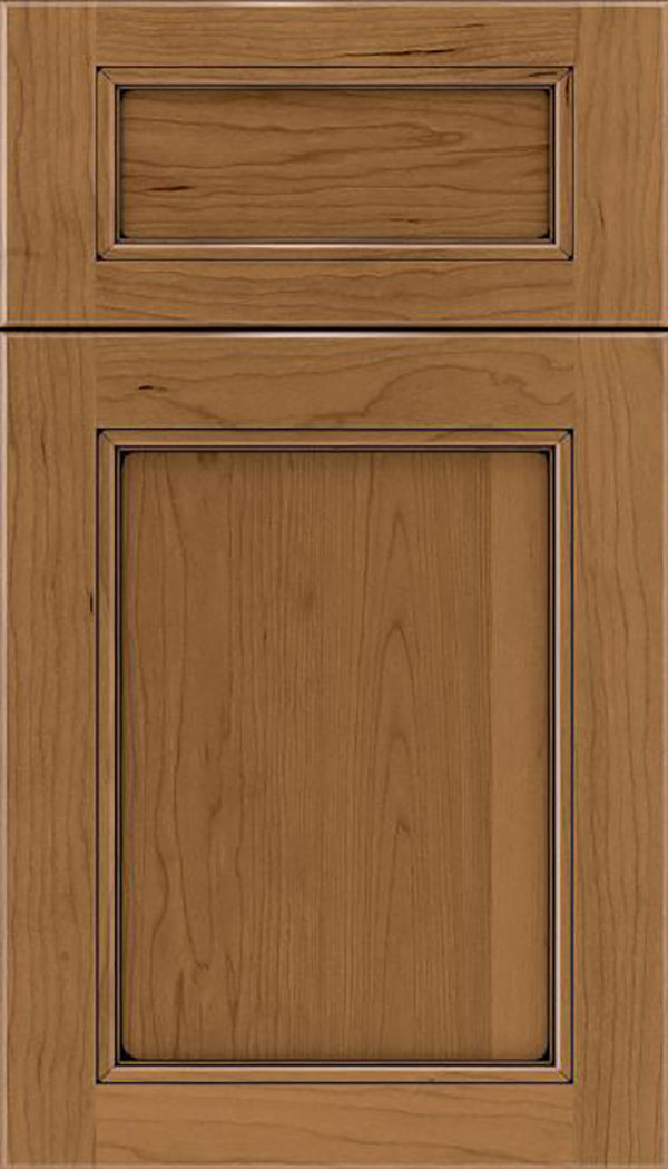 Templeton 5pc Cherry recessed panel cabinet door in Tuscan with Black glaze
