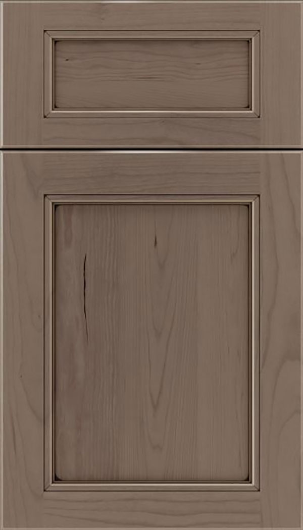 Templeton 5pc Cherry recessed panel cabinet door in Winter with Black glaze