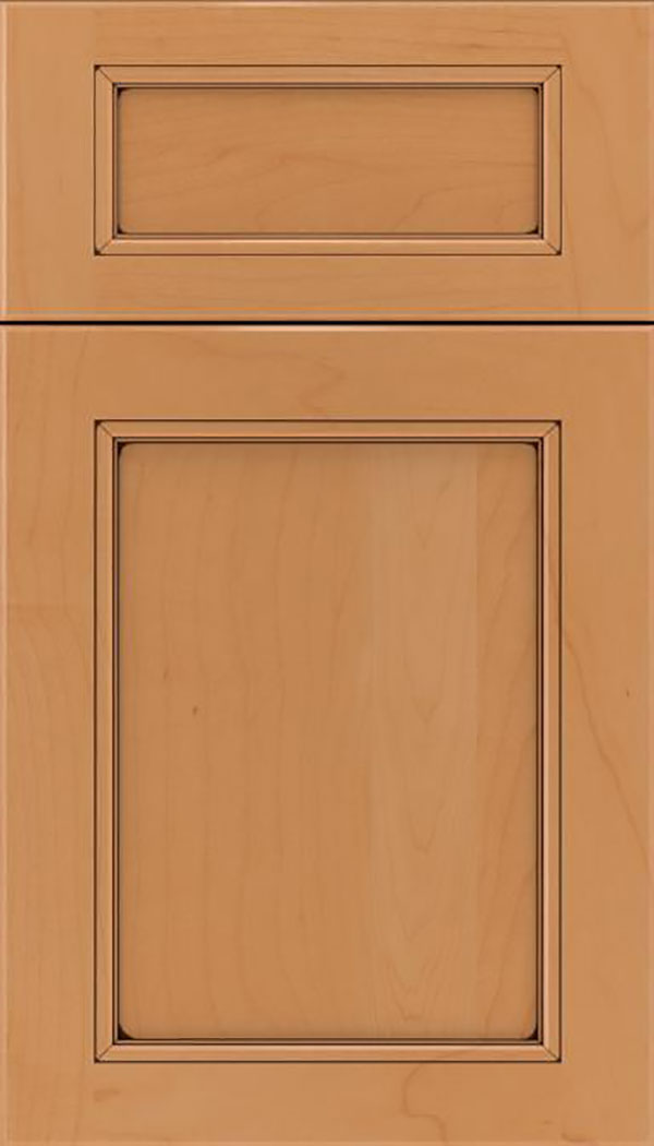 Templeton 5pc Maple recessed panel cabinet door in Gunmetal Blue with Black glaze