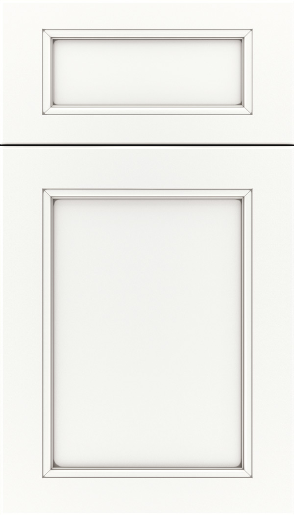 Templeton 5pc Maple recessed panel cabinet door in Whitecap with Pewter glaze