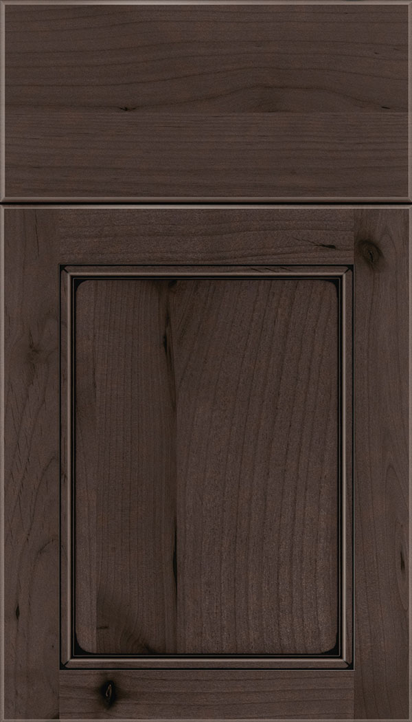 Templeton Alder recessed panel cabinet door in Thunder with Black glaze