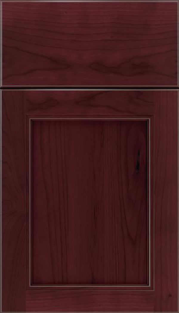 Templeton Cherry recessed panel cabinet door in Bordeaux