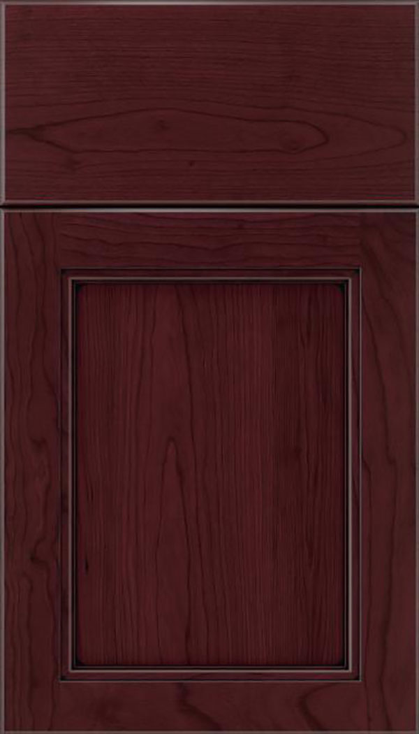Templeton Cherry recessed panel cabinet door in Bordeaux with Black glaze