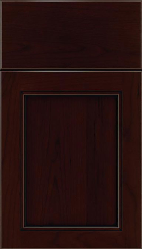Templeton Cherry recessed panel cabinet door in Cappuccino with Black glaze