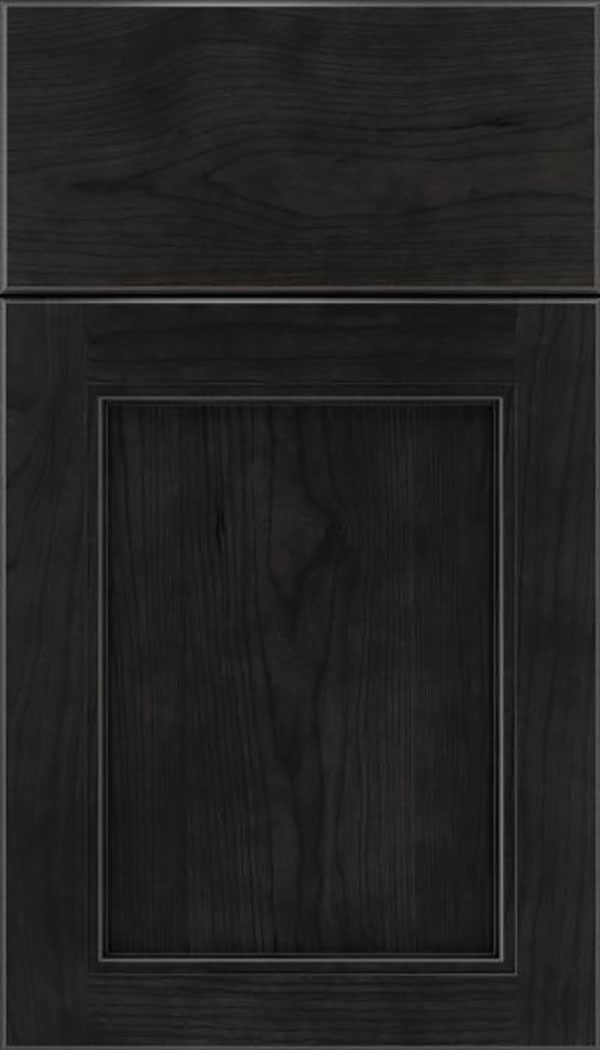 Templeton Cherry recessed panel cabinet door in Charcoal