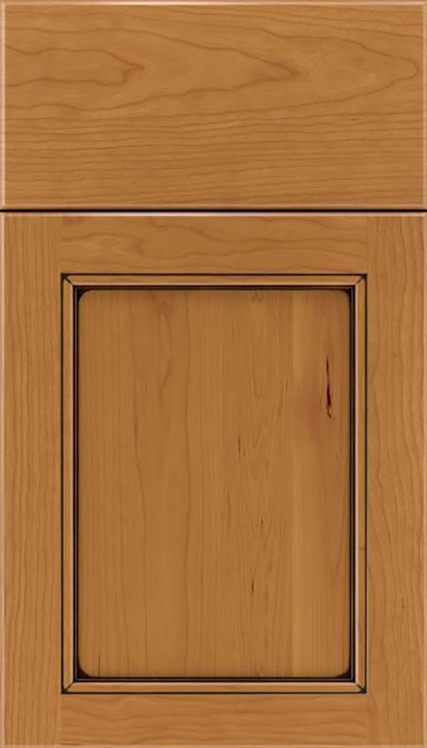 Templeton Cherry recessed panel cabinet door in Ginger with Black glaze