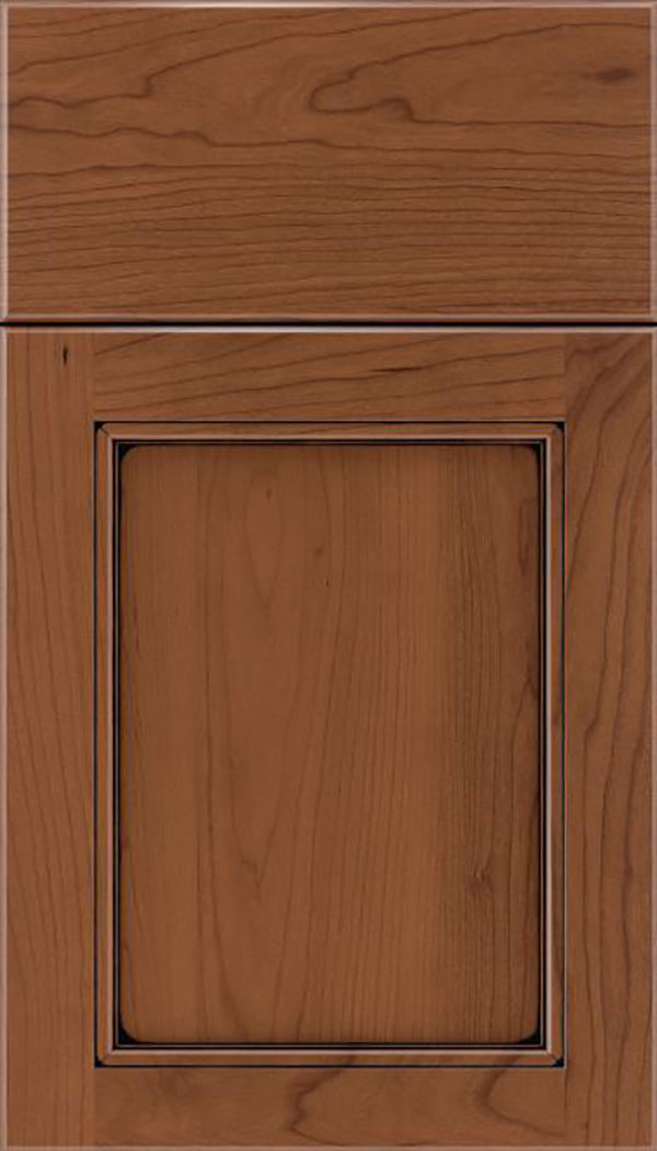 Templeton Cherry recessed panel cabinet door in Nutmeg with Black glaze