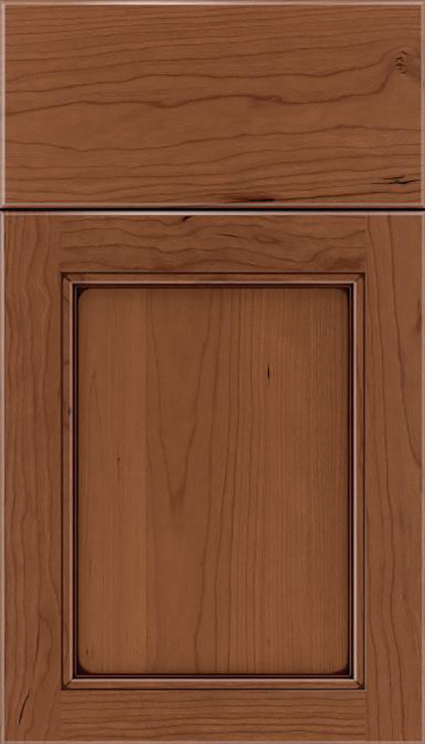 Templeton Cherry recessed panel cabinet door in Nutmeg with Mocha glaze