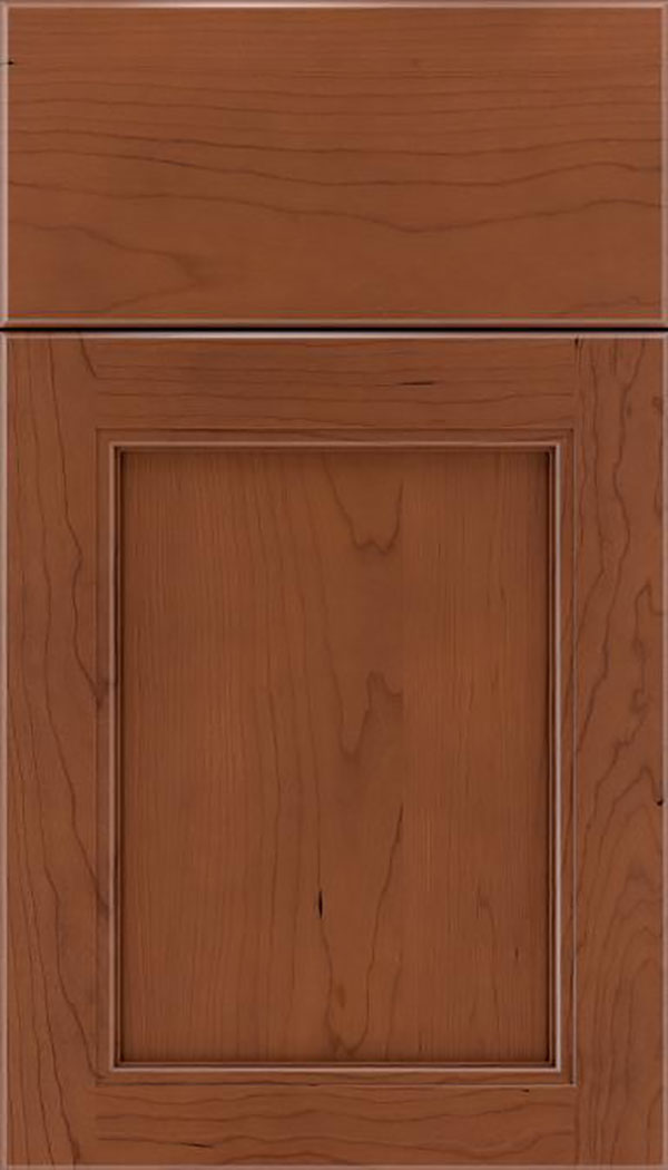 Templeton Cherry recessed panel cabinet door in Russet