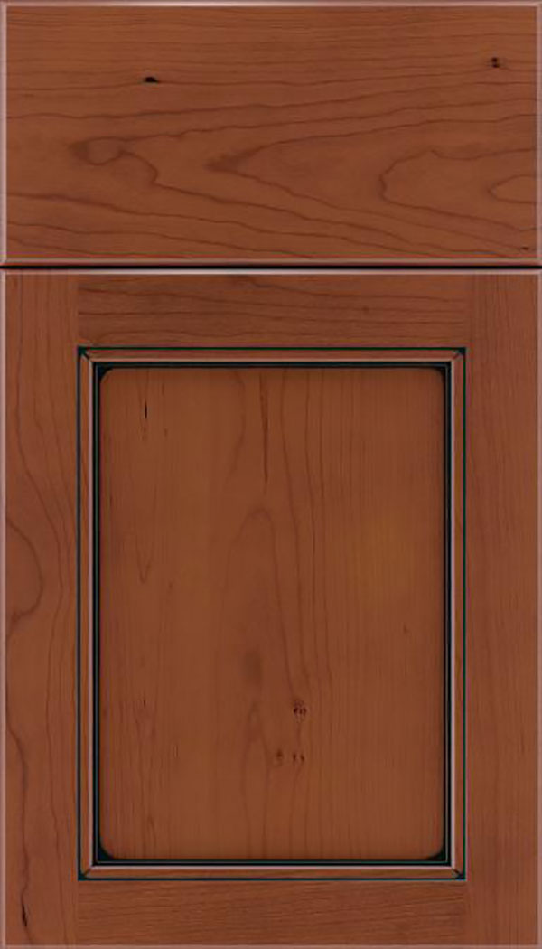 Templeton Cherry recessed panel cabinet door in Russet with Black glaze
