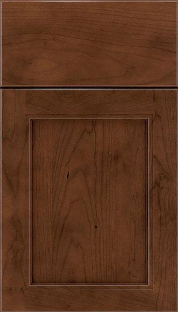 Templeton Cherry recessed panel cabinet door in Sienna